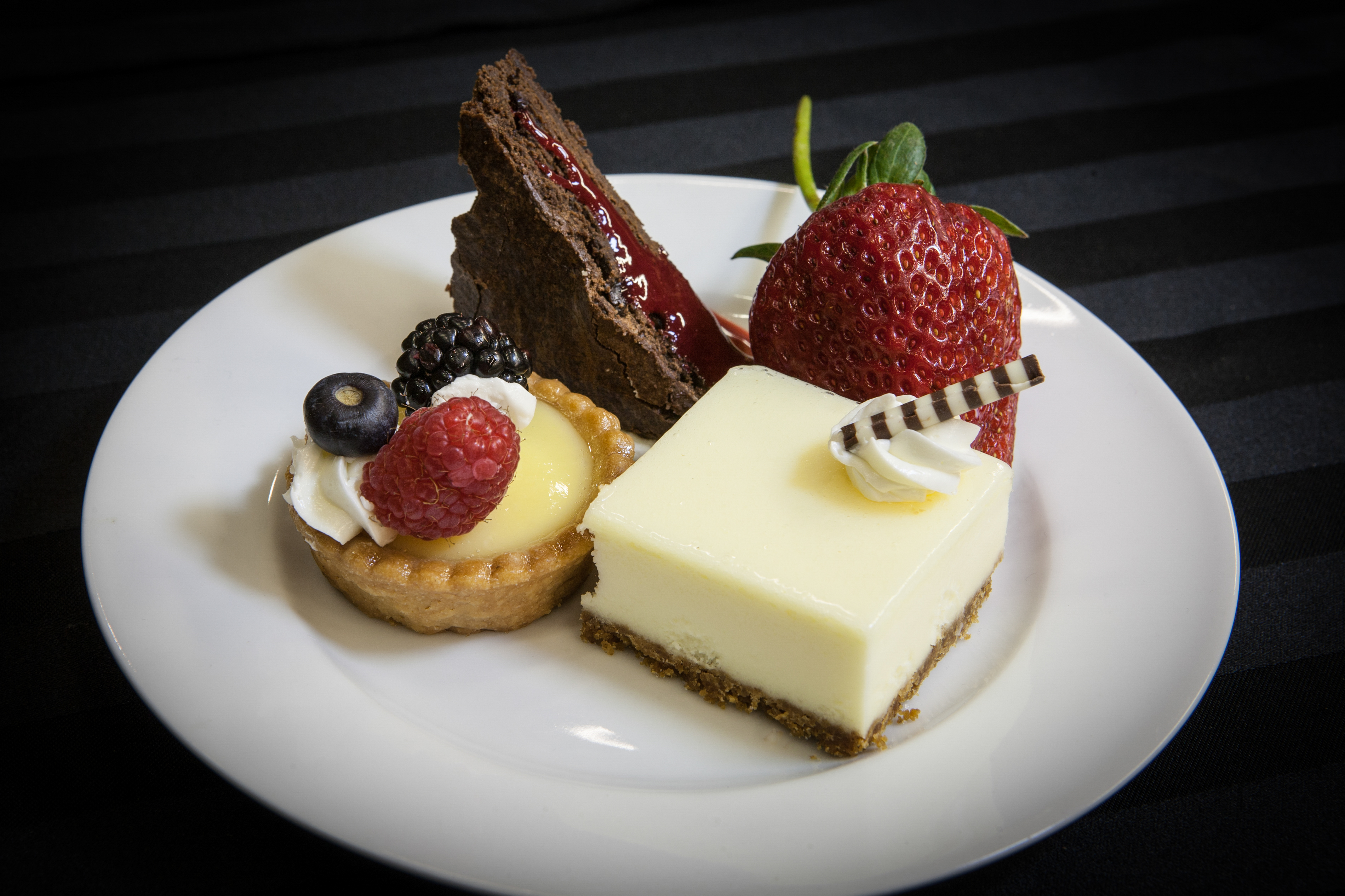 Carousel-Catering-Inc-Trio-of-Deserts-Cheese-Cake-Square-Lemon-Fruit-Tart-Cranberry-Pecan-Brownie