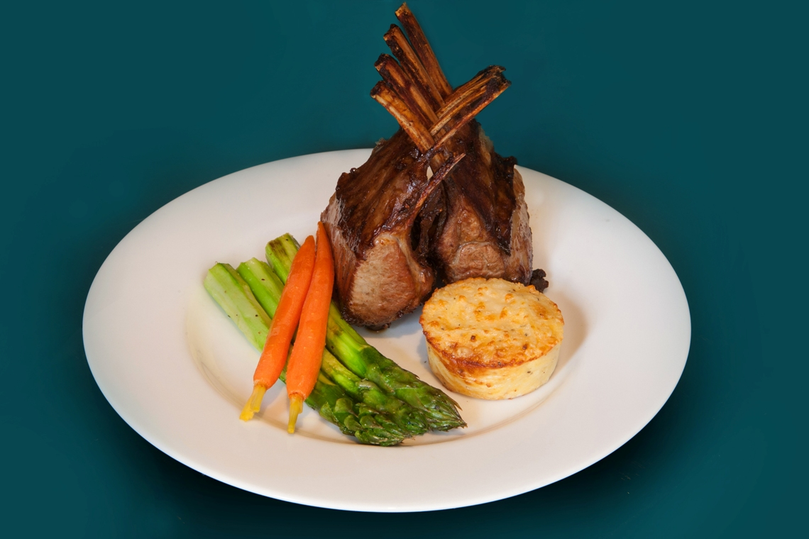 Carousel-Catering-Inc-Rack-of-Lamb-Shikar-Style-Jumbo-Asparagus-Angel-Hair-Flan